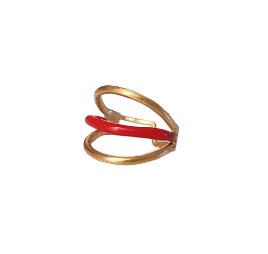 Tria, ring with triple wire and enamel in many colors, a stylish , statement ring to wear