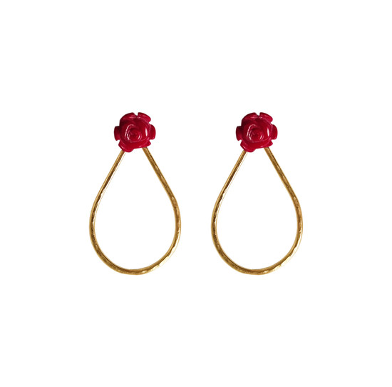Red coral earrings in rose shape and silver drops