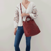 Sheila Soft Washed Hide Red Tote Bag