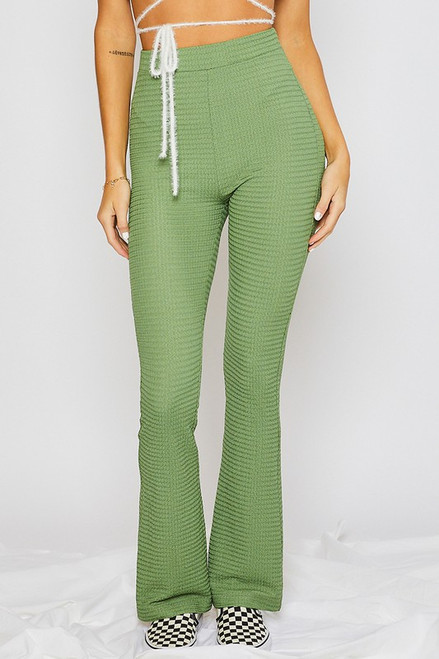 Life In Fast Forward  Green Flare Pants