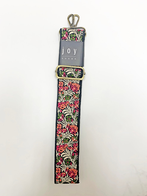 Coral/Green Guitar Strap  Embroidered Floral