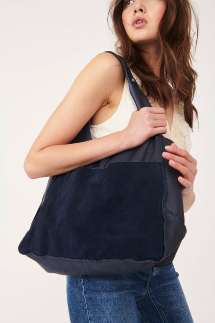 Tuscan Leather French  Blue Tote