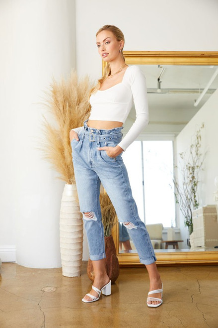 Norrine Ultra High Rise Belted Mom Jeans