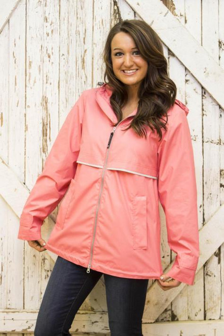 Monogram Rain Jacket in Coral