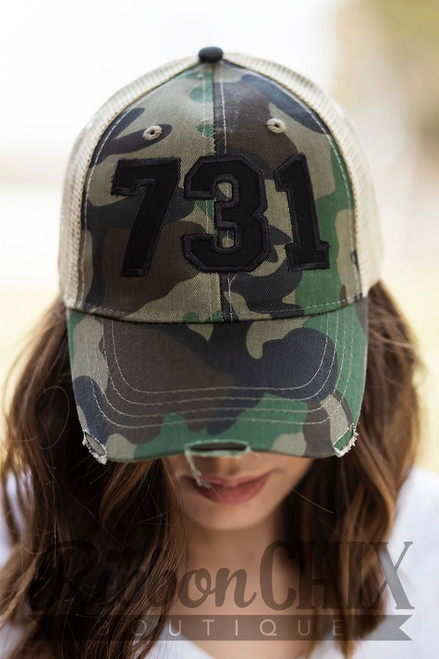 Area Code Camo/Black Trucker Cap