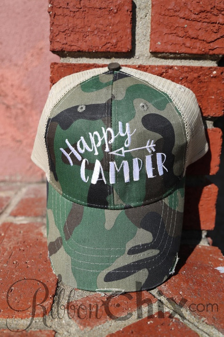 Happy Camper Camo Trucker Cap