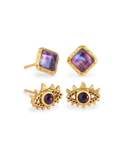 Gemma Vintage Gold Stud Earrings Set Of 2 In Mauve Abalone