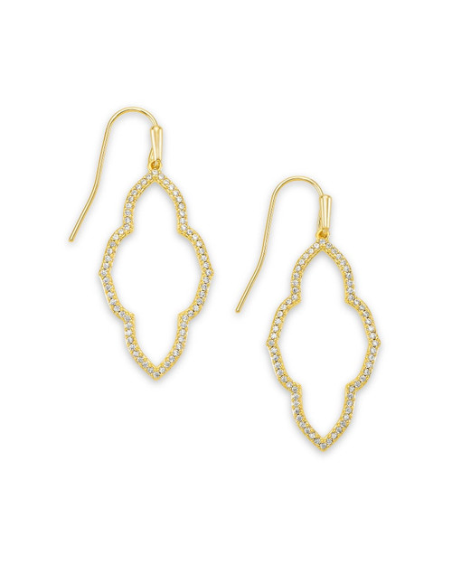 Abbie Gold Small Open Frame Earrings In White Crystal