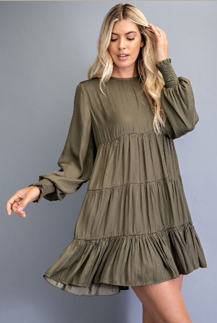 Can't Be Outdone Olive Dress