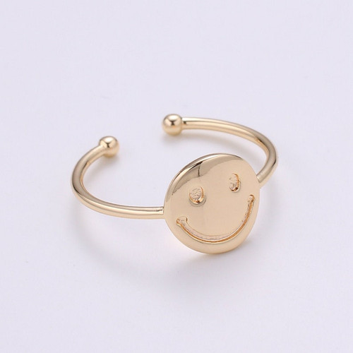 Smiley Face Adjustable Gold Ring