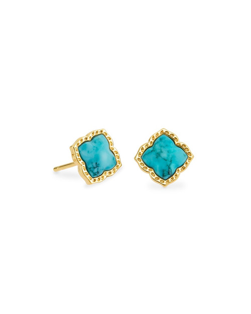 Mallory Gold Stud Earrings In Variegated Turquoise Magnesite