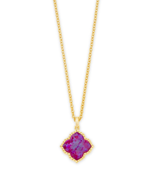 Mallory Gold Pendant Necklace In Plum Kyocera Opal