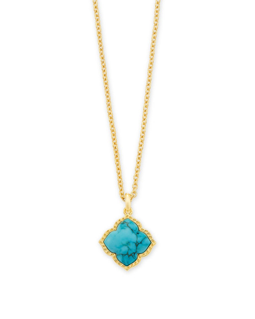 Mallory Gold Pendant Necklace In Variegated Turquoise Magnesite
