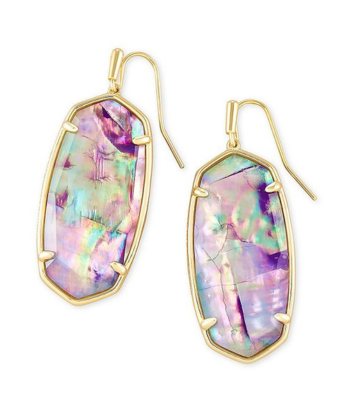 Faceted Elle Drop Earrings In Gold Lilac Abalone