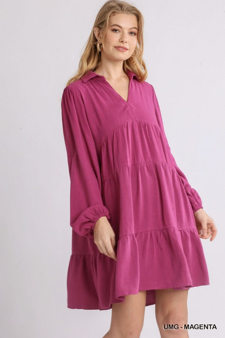 Just Getting By Magenta Dress