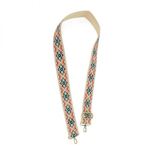 Turquoise Embroidered Guitar Strap