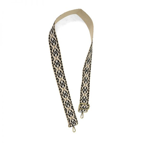 Natural And Black Embroidered Guitar Strap