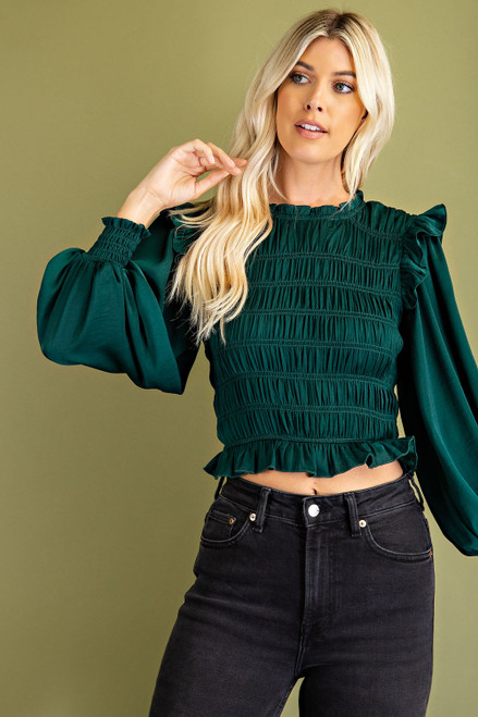 Just A Theory Hunter Green Top