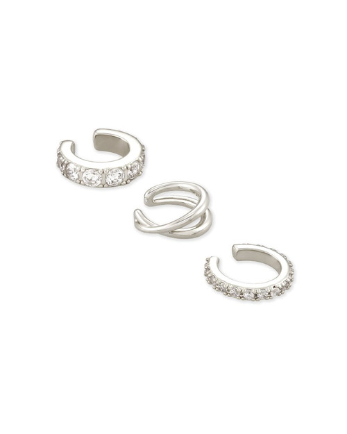 Livy Silver Ear Cuff Set Of 3 In White Crystal