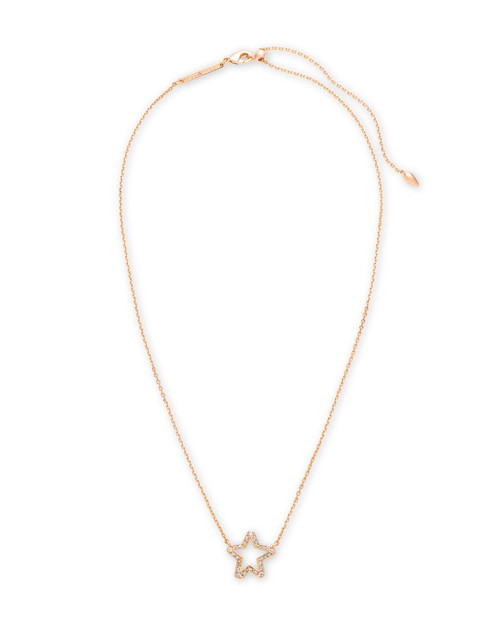 Jae Star Rose Gold Pendant Necklace In White Crystal