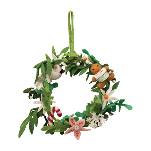 Wool Felt Floral Wreath with Dove and Gingerbread