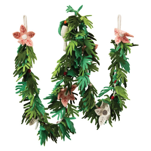 Wool Felt Floral Garland with Dove and Poinsettias