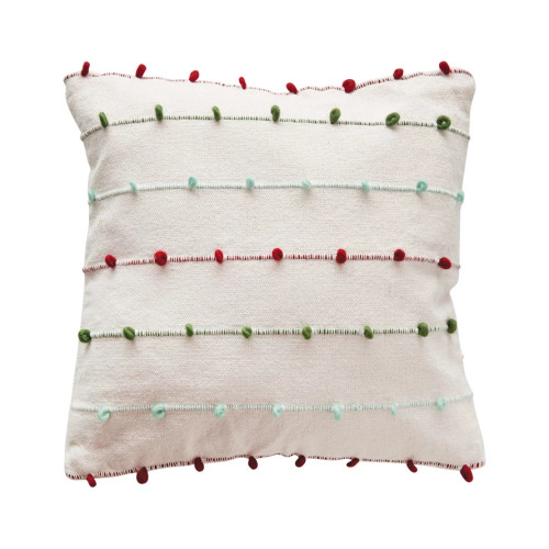 Cotton Pillow with Embroidery Loops
