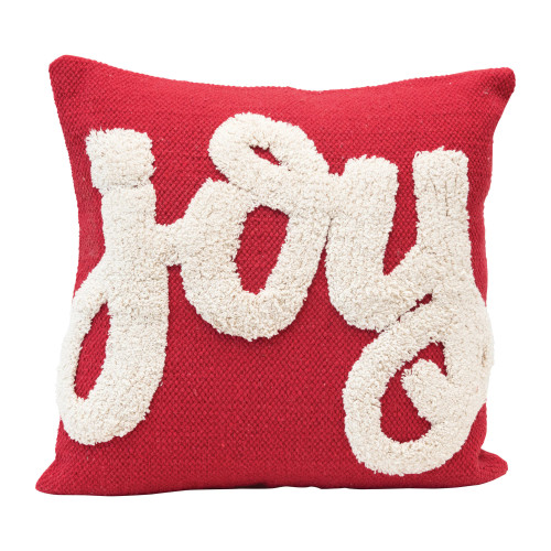 Joy Cotton Tufted Red Pillow