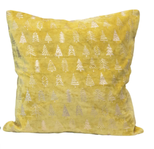 Yellow Velvet Pillow with Foil Christmas Trees