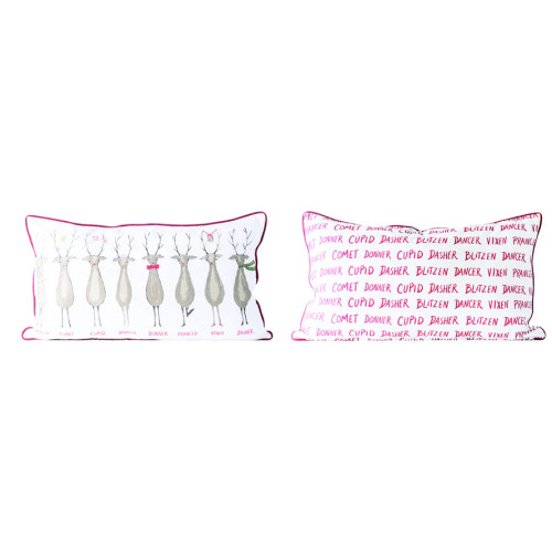 Cotton Pillow with Santa's Reindeer and Piping