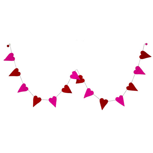 Felt Hearts Red And Pink Mix Garland