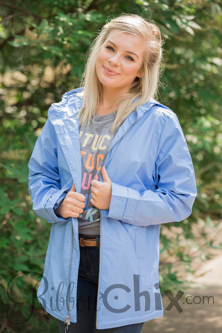 Monogram Rain Jacket in Periwinkle