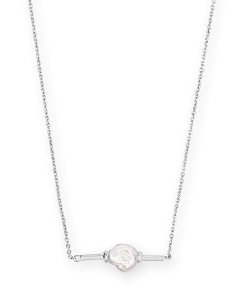 Emberly Bright Silver Pendant Necklace In Pearl