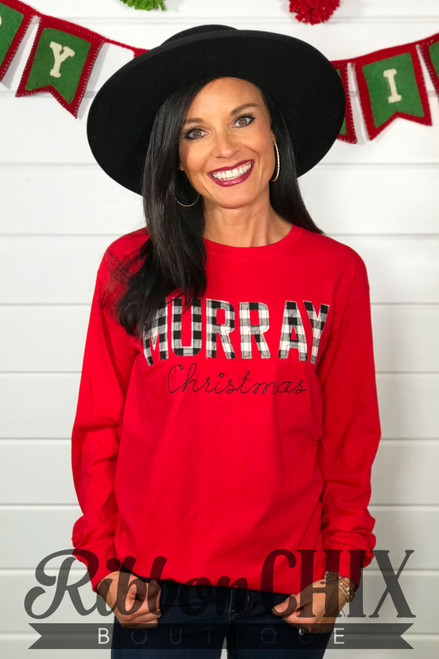 Murray Christmas Long Sleeve Tee (Buffalo Plaid)