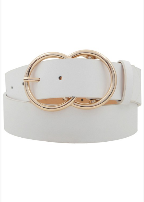 Double O-Ring White Buckle Belt