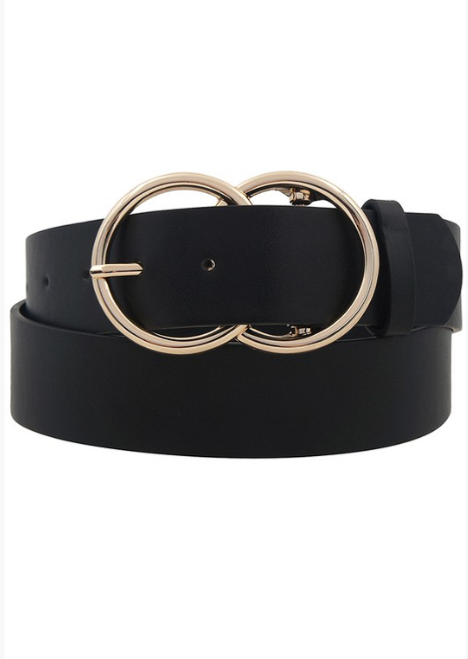 Double O-Ring Black-Gold Buckle Belt