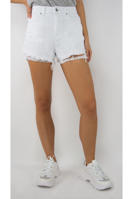 Tell You Later White Denim Shorts