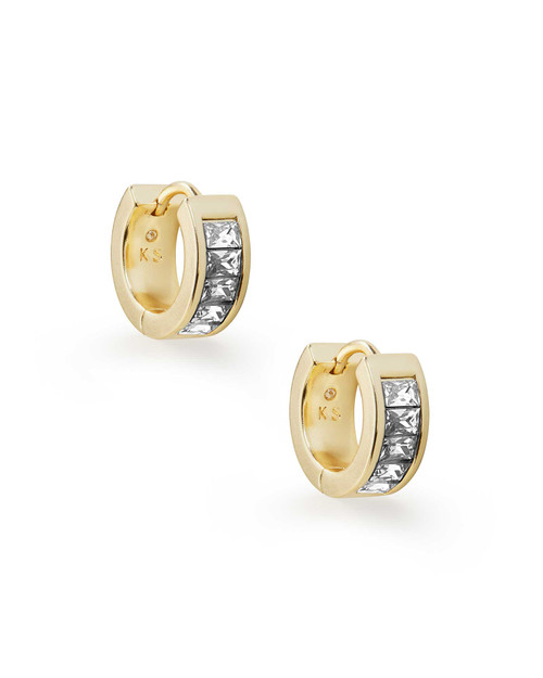 Jack Gold Huggie Earrings In White Crystal