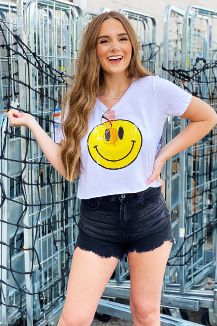 All Smiles Distressed Crop Top