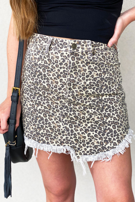 Bailey Cheetah Printed Denim Skirt