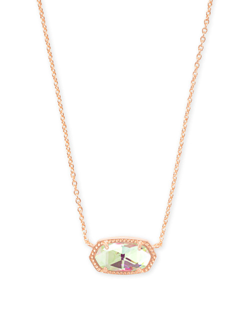 Elisa Rose Gold Pendant Necklace in Dichroic Glass