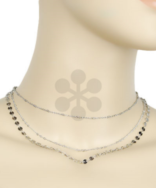 Far Out Silver Layered Necklace