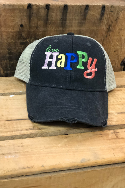 Live Happy Gray Trucker Cap
