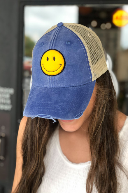 Be Happy Blue Trucker Cap