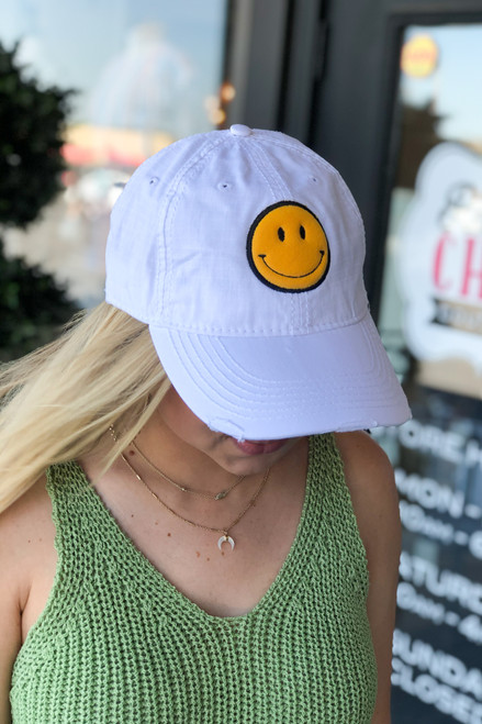 Be Happy White Golf Cap