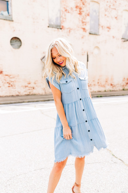 Dancing in the Streets Light Denim Dress