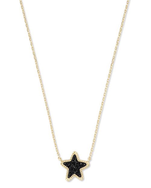 Jae Star Gold Pendant Necklace In Black Drusy