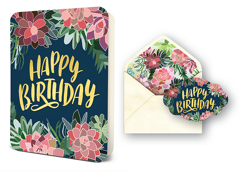 Succulents Happy Birthday Card Set