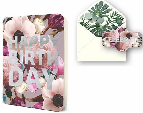 Happy Birthday Blush Floral Card Set