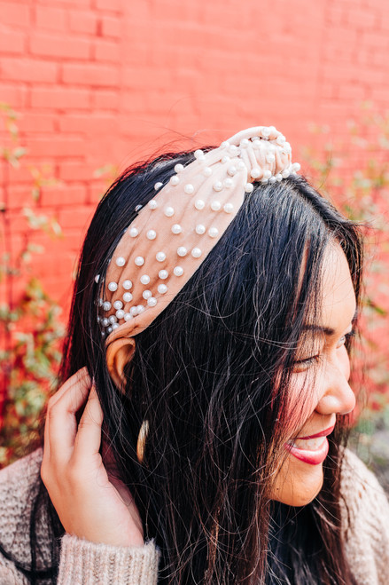What's Knot to Love Beige Pearl Headband